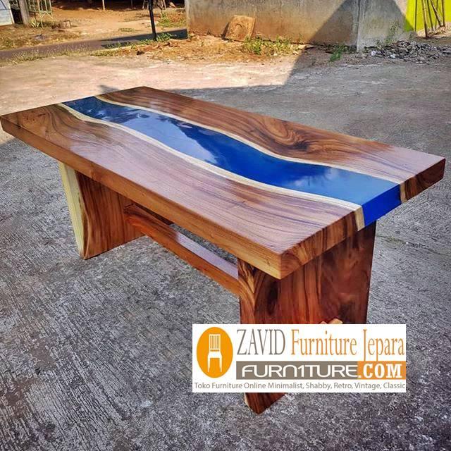 meja makan kayu trembesi dengan resin cantik - 2020 Meja Trembesi Untuk Makan Desain Paling Laris Di Indonesia