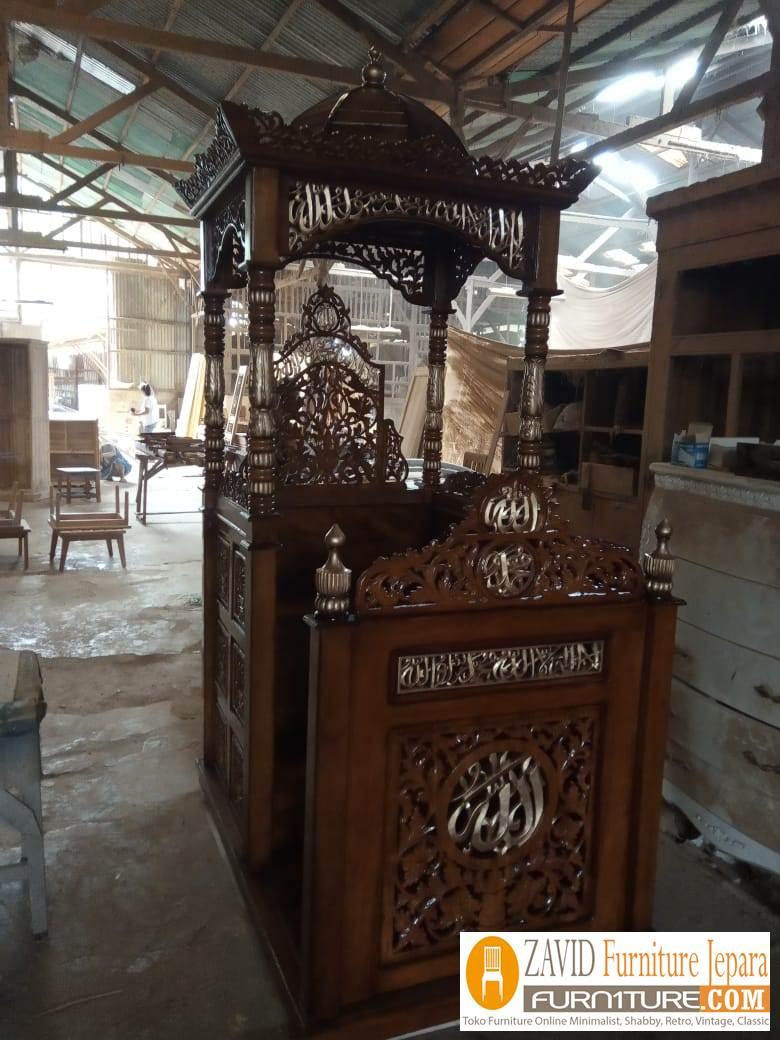 mimbar-masjid-kubah Jual Mimbar Kubah Ukir Mewah Kayu Jati Untuk Masjid