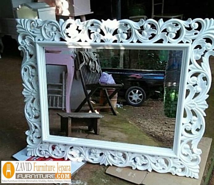 pigura-cermin-putih-duco-persegi Pigura Kaca Modern 2020 Terlaris Bahan Kayu Jati