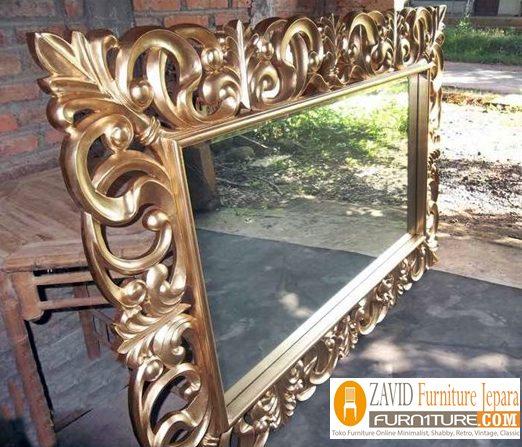 pigura-ukiran-persegi-panjang-modern Pigura Cermin Bali Ukiran Mewah Modern
