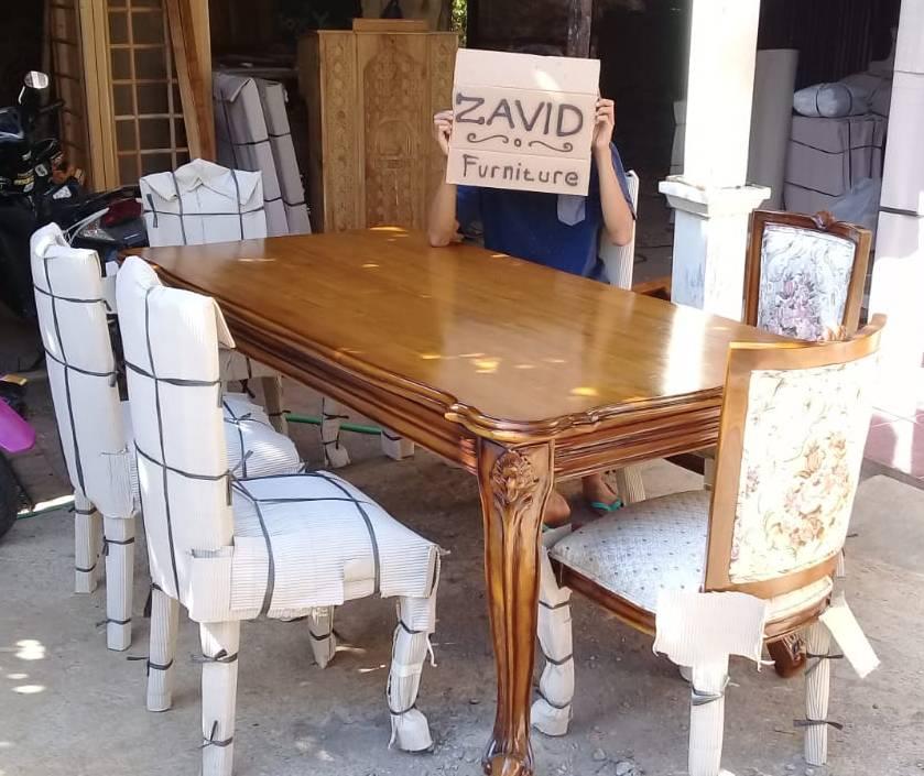 set-meja-kursi-makan-minimalis Set Meja Kursi Makan Lavino Klasik Kayu Jati Modern
