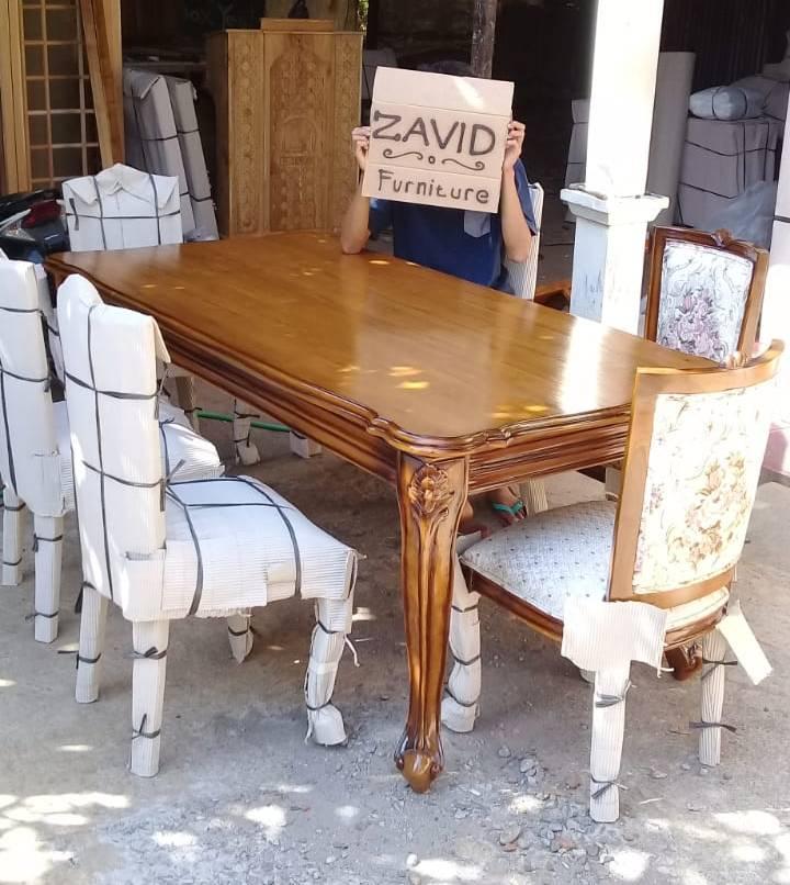 set-meja-kursi-makan-sederhana Set Meja Kursi Makan Lavino Klasik Kayu Jati Modern