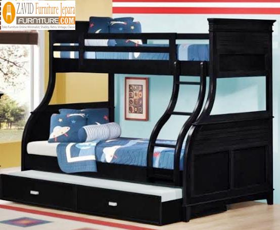 tempat tidur tingkat sorong warna hitam - Tempat Tidur Jati Madura Tingkat Untuk Anak Warna Hitam