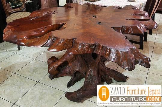 akar kayu untuk meja teras - Meja Akar Kayu Alami Desain Unik
