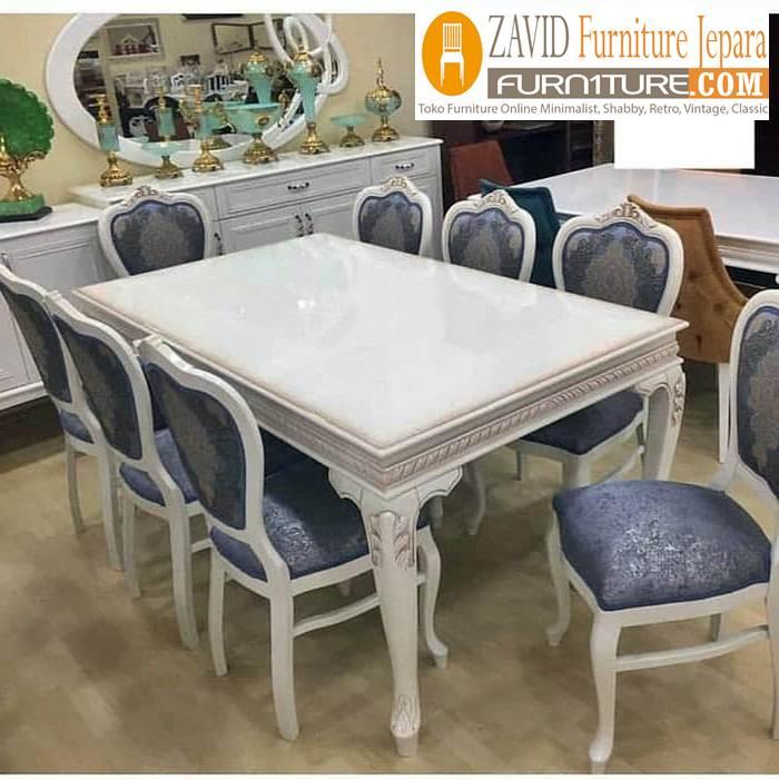 desain meja makan 8 kursi warna putih - Meja Makan Minimalis 8 Kursi