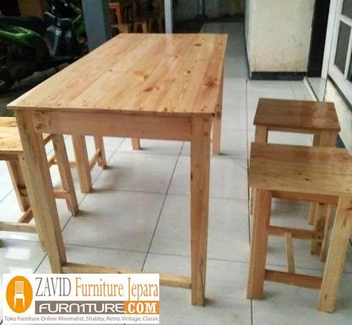 desain meja makan kayu mindi - Meja Kayu Alami Utuh Klasik