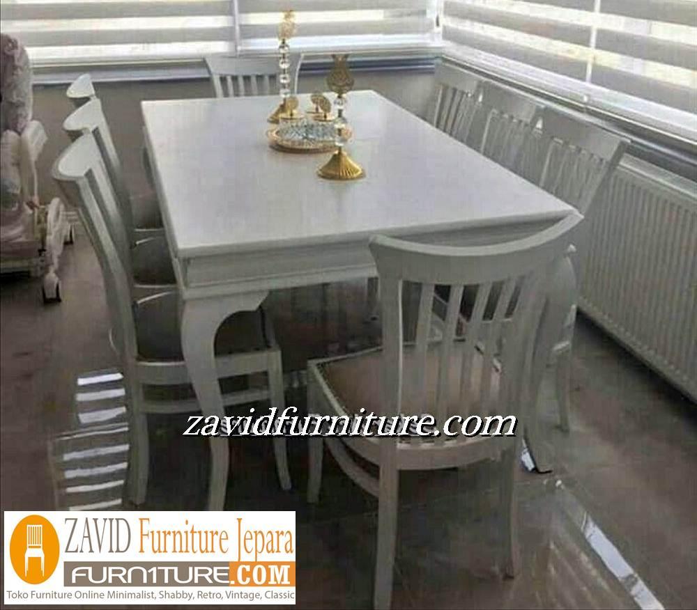 jual meja makan 8 kursi warna putih - Meja Makan Minimalis 8 Kursi
