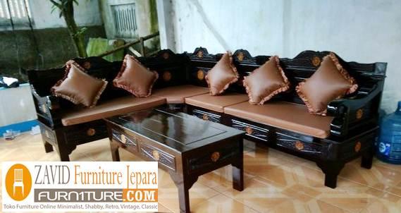 kursi tamu sudut minimalis warna hitam - Kursi Sudut Bandung Kayu Jati Ruang Tamu Minimalis