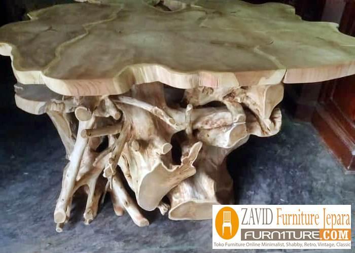 meja akar kayu trembesi - Meja Kayu Alami Utuh Klasik