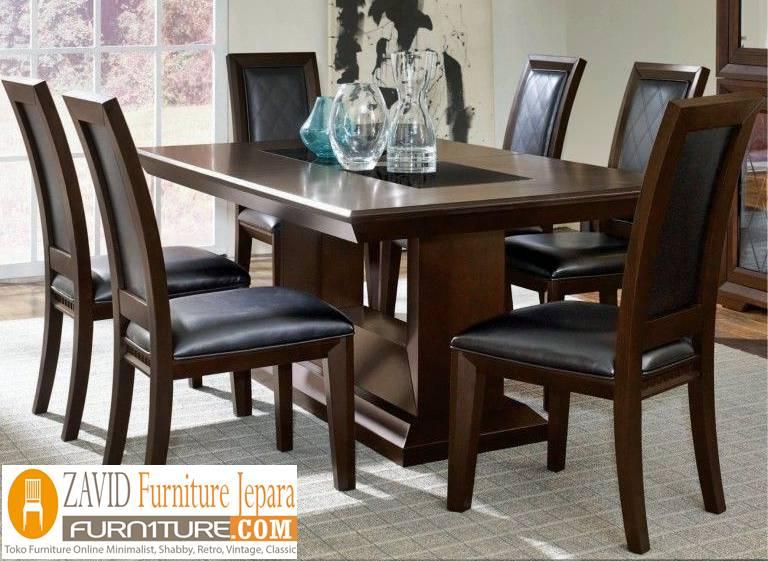 meja makan kayu jati desain klasik - Meja Kayu Alami Utuh Klasik
