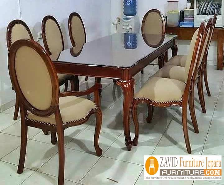 meja makan kayu jati klasik baru - Meja Kayu Alami Utuh Klasik