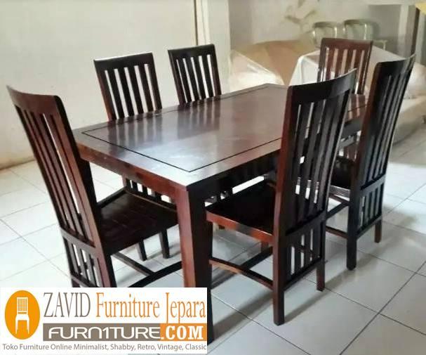 meja makan kayu jati klasik - Meja Kayu Alami Utuh Klasik