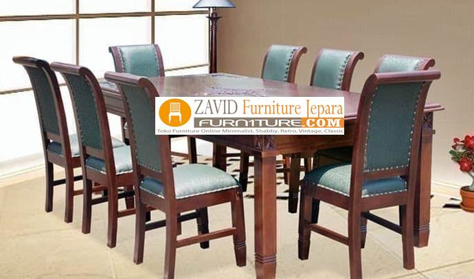 meja makan kayu jati minimalis 8 kursi dudukan busa - Meja Makan Minimalis 8 Kursi