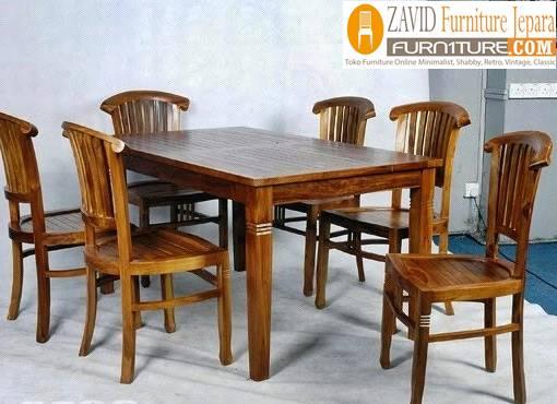 meja makan kayu jati - Meja Kayu Alami Utuh Klasik