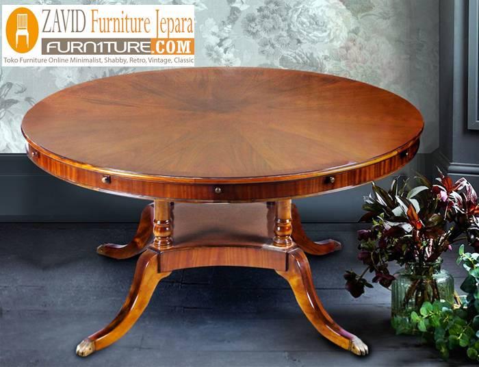 meja makan kayu mahoni baru - Meja Kayu Alami Utuh Klasik