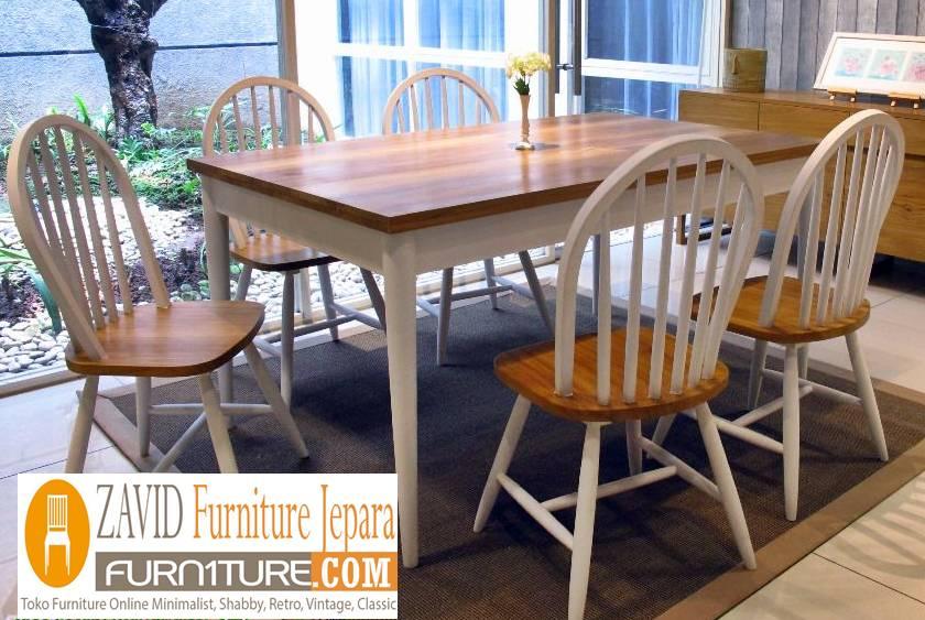 meja makan kayu mahoni klasik baru - Meja Kayu Alami Utuh Klasik