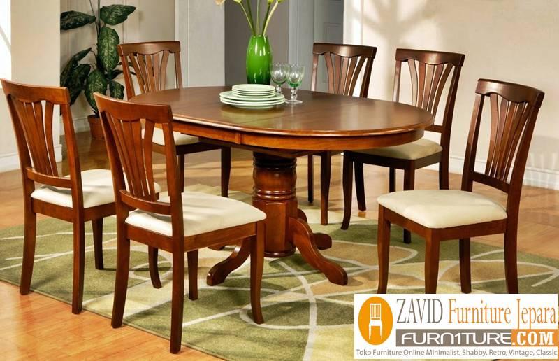meja makan kayu mahoni klasik minimalis - Meja Kayu Alami Utuh Klasik
