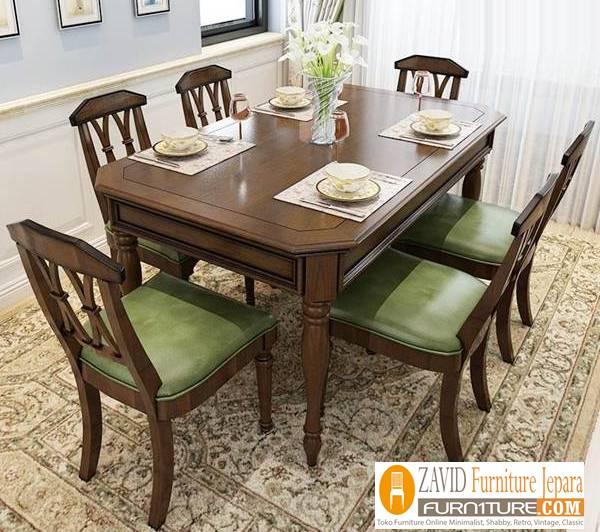 meja makan kayu mahoni - Meja Kayu Alami Utuh Klasik