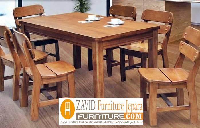 meja makan kayu mindi baru - Meja Kayu Alami Utuh Klasik
