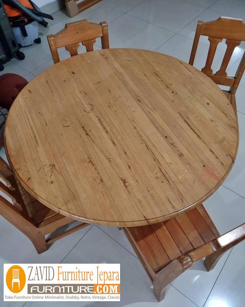 meja makan kayu mindi - Meja Kayu Alami Utuh Klasik