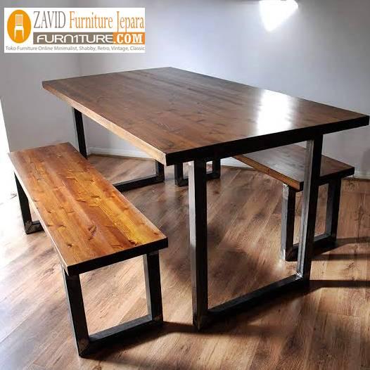 meja makan kayu trembesi kayu utuh - Meja Kayu Alami Utuh Klasik