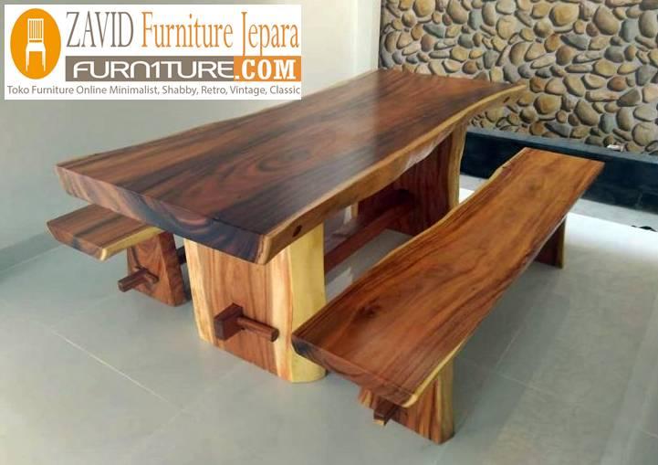 meja makan kayu trembesi utuh unik - Meja Kayu Alami Utuh Klasik