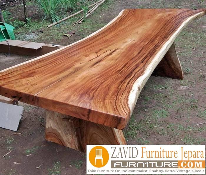meja makan kayu trembesi utuh - Meja Kayu Alami Utuh Klasik