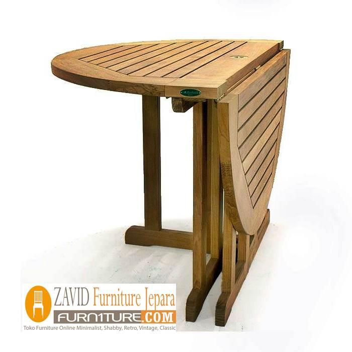 meja makan lipat kayu jati bundar - Meja Makan Lipat Kayu Jati Minimalis Terbaru