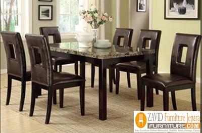 meja-makan-marmer-6-kursi-kayu-jati Meja Makan Marmer 8 Dan 6 Kursi Desain Modern Terlaris