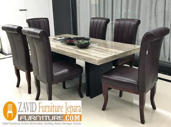 meja-makan-marmer-6-kursi-modern Meja Makan Marmer 8 Dan 6 Kursi Desain Modern Terlaris