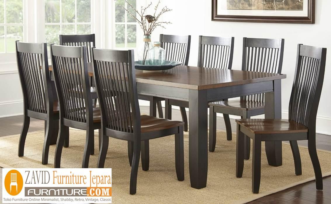 meja makan minimalis 8 kursi kayu jati - Meja Makan Minimalis 8 Kursi
