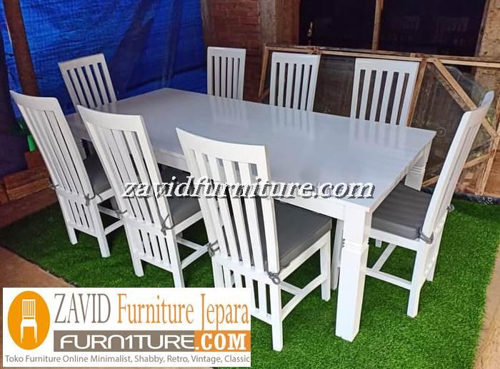 meja makan minimalis 8 kursi warna putih - Meja Makan Minimalis 8 Kursi