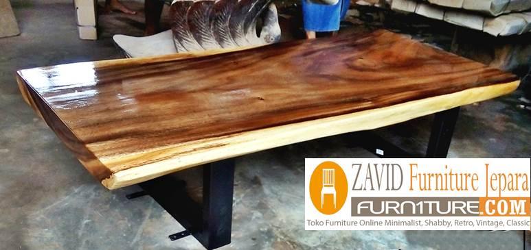 meja-makan-trembesi-kaki-besi-modern Meja Trembesi Kaki Besi Desain Minimalis Untuk Makan Sehari-Hari