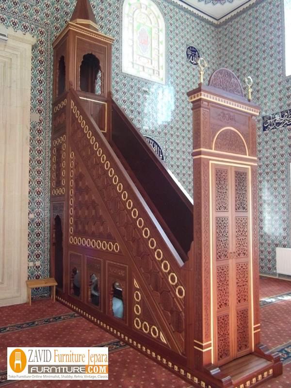 mimbar-masjid-kayu-jati-jepara Model Gambar Mimbar Masjid Nabawi Madinah Yang Terkenal