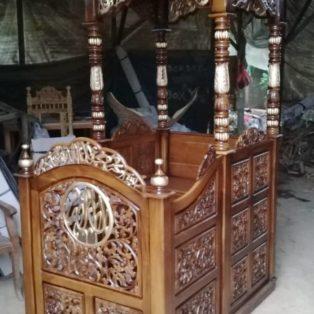 Jual Mimbar Kubah Depok Ukiran Untuk Masjid Kayu Jati Solid