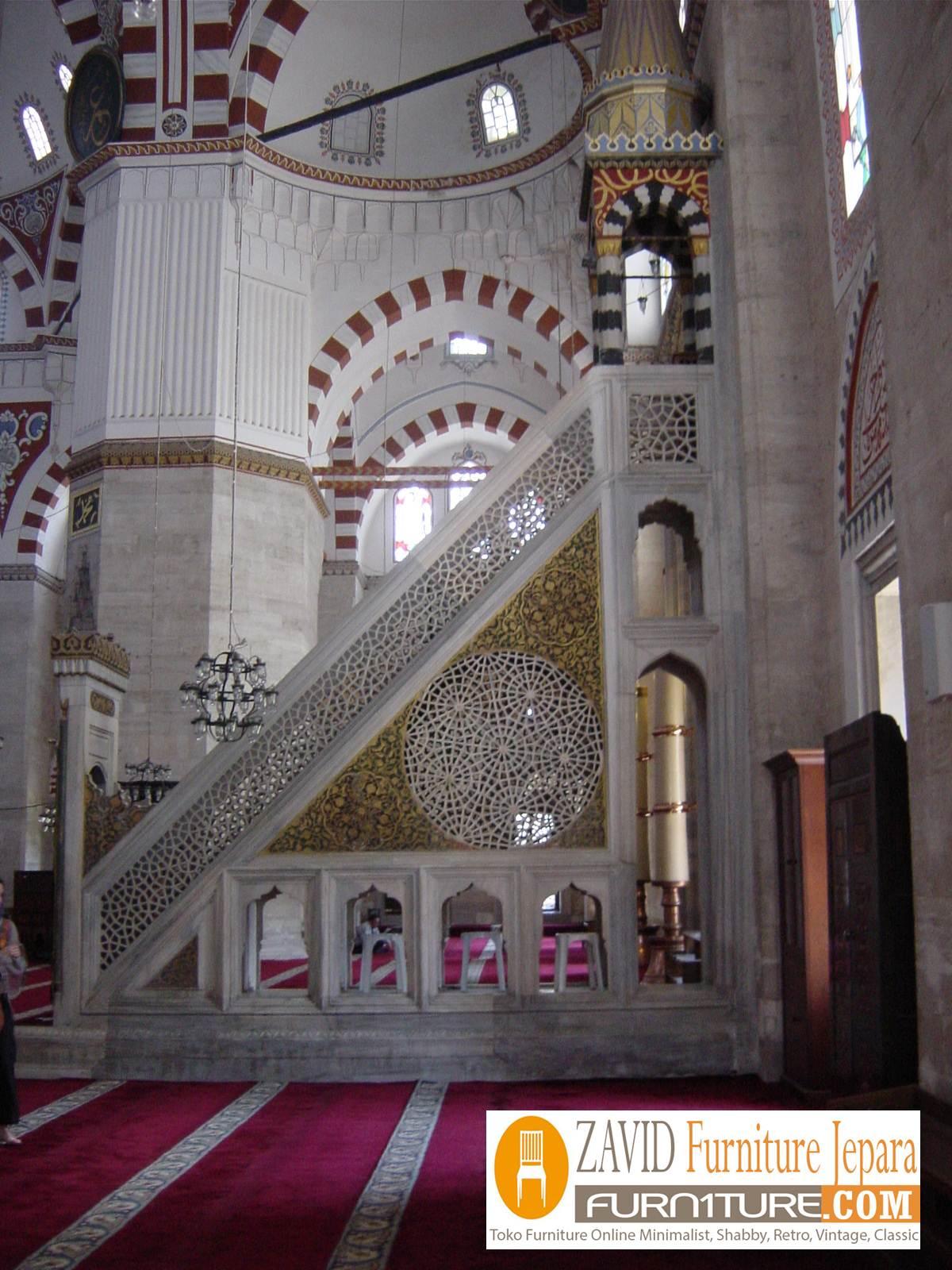 mimbar-masjid-mewah Model Gambar Mimbar Masjid Nabawi Madinah Yang Terkenal