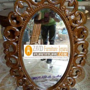 Pigura Cermin Kota Bandung Desain Oval Ukiran Modern