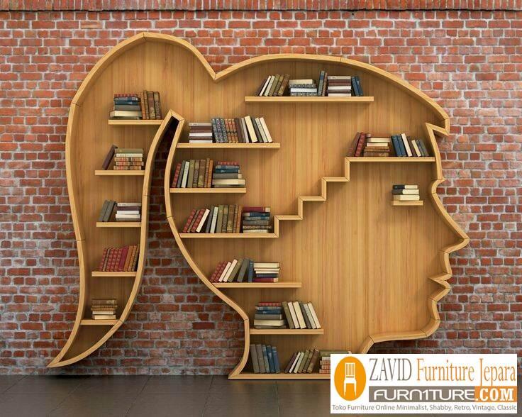 rak-buku-unik Jual Rak Buku Unik Kayu Jati Hiasan Dinding Cantik