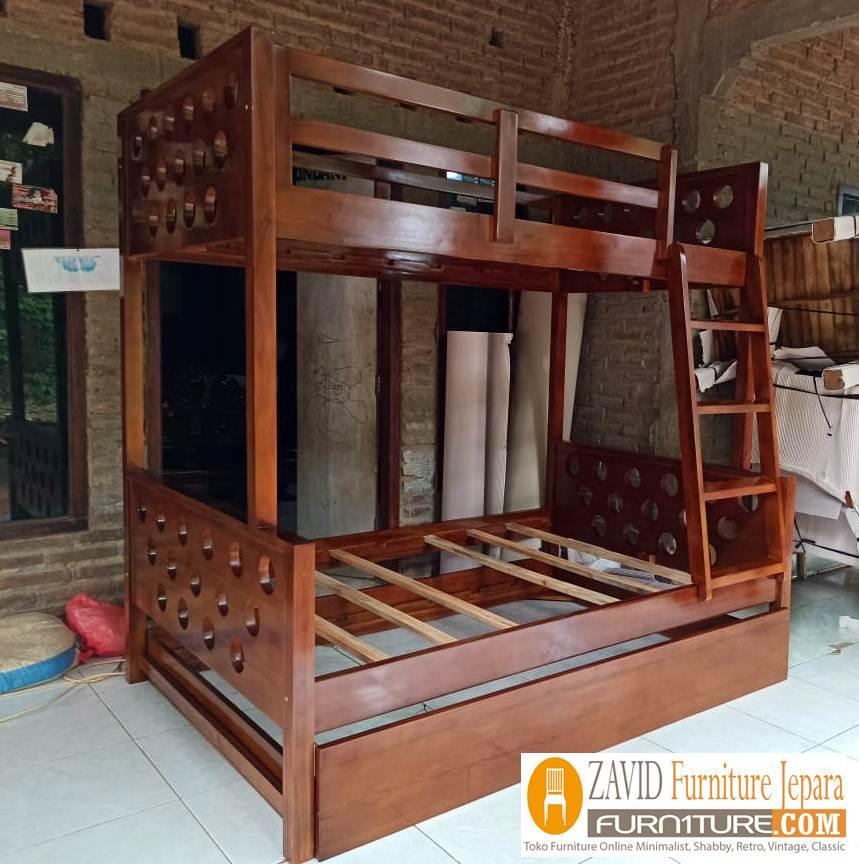 tempat-tidur-tngkat-jati-sorong-natural Tempat Tidur Tingkat Bekasi Sorong Untuk Anak Harga Murah