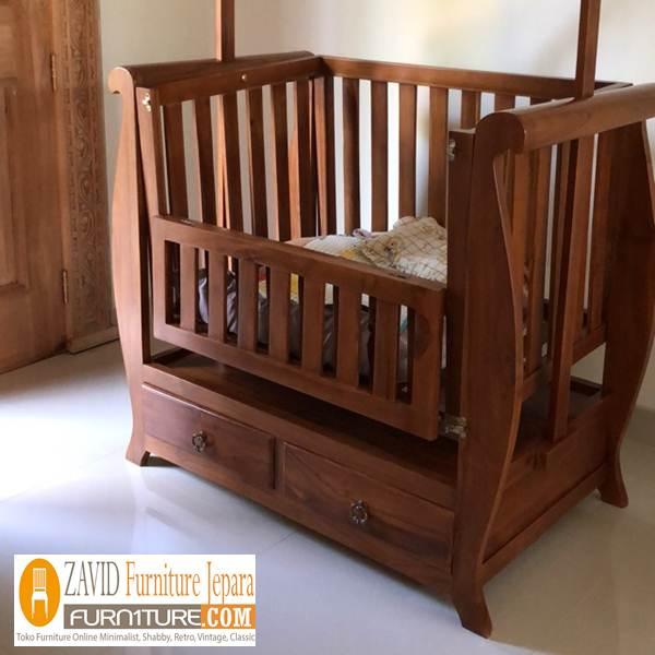 ayunan box bayi - Ayunan Box Bayi Kayu Kecil Minimalis Karya Mebel Jepara
