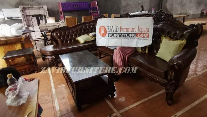 kursi-tamu-jati-ukiran-mewah-natural Kursi Sofa Mewah Ukir Ruang Tamu Kayu Jati Solid