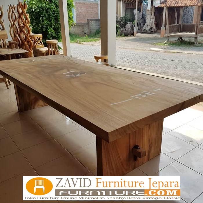 meja-makan-kayu-trembesi-baru-sisi-lurus Jual Meja Trembesi Sisi Lurus/Kotak Flat Untuk Meja Makan