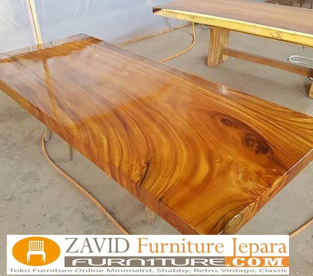 meja-makan-kayu-trembesi-sisi-lurus Jual Meja Trembesi Sisi Lurus/Kotak Flat Untuk Meja Makan