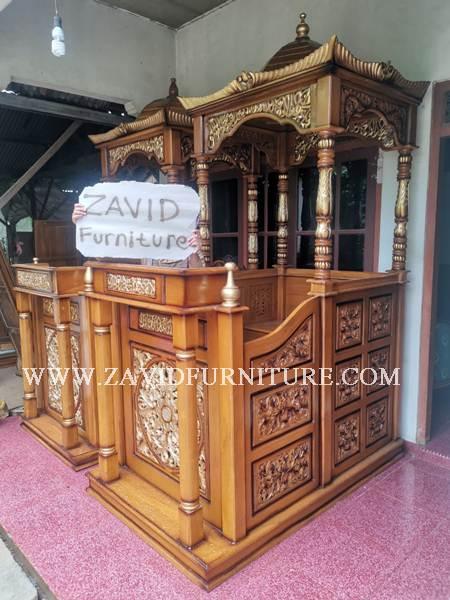 MIMBAR MASJID UKIR JATI - Jual Mimbar Masjid Di Jakarta Terbaru Dari Furniture Zavid