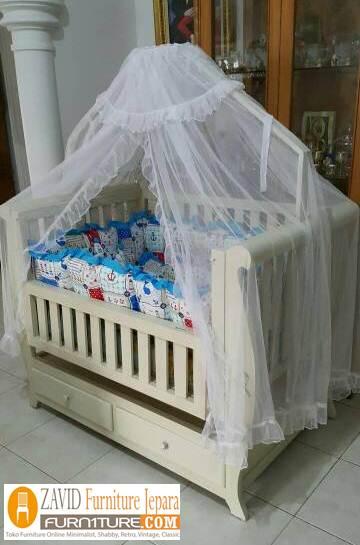 box bayi kelambu putih - Box Bayi Kelambu Kayu Minimalis