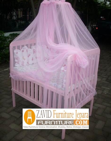 box bayi minimalis pink dengan kelambu - Box Bayi Kelambu Kayu Minimalis