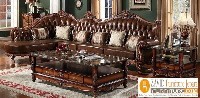 kursi tamu jati sudut baru - Kursi Sofa Kulit Asli Mewah Klasik Terbaru