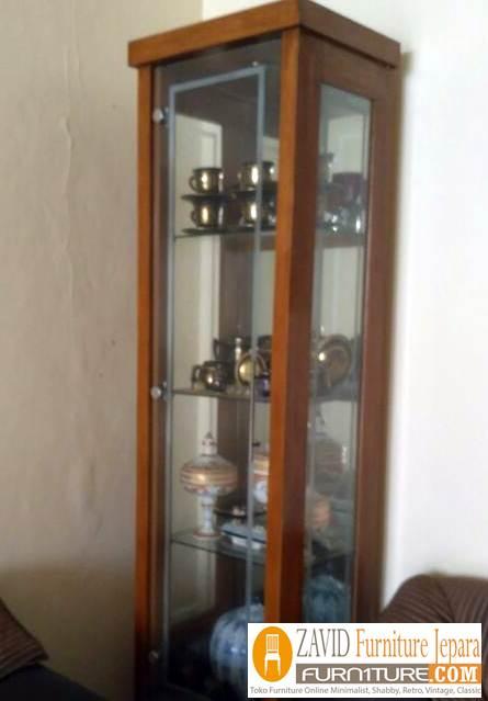 lemari hias kaca minimalis 1 pntu - Lemari Hias Jati 2 Dan 1 Pintu Minimalis Pajangan Terbaru