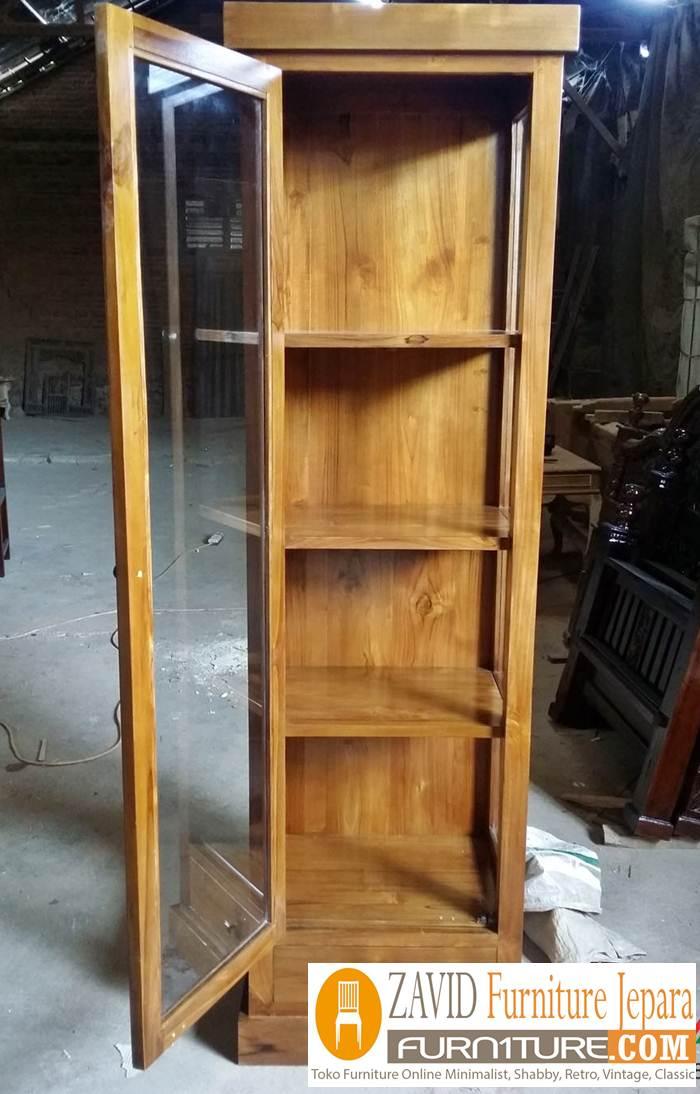 lemari hias model 1 pintu kayu jati minimalis - Lemari Hias Jati 2 Dan 1 Pintu Minimalis Pajangan Terbaru