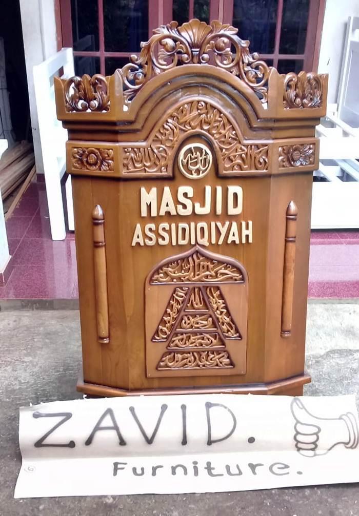 mimbar masjid ukir minimalis - Mimbar Masjid Minimalis Assidiqiyah Kayu Jati Solid